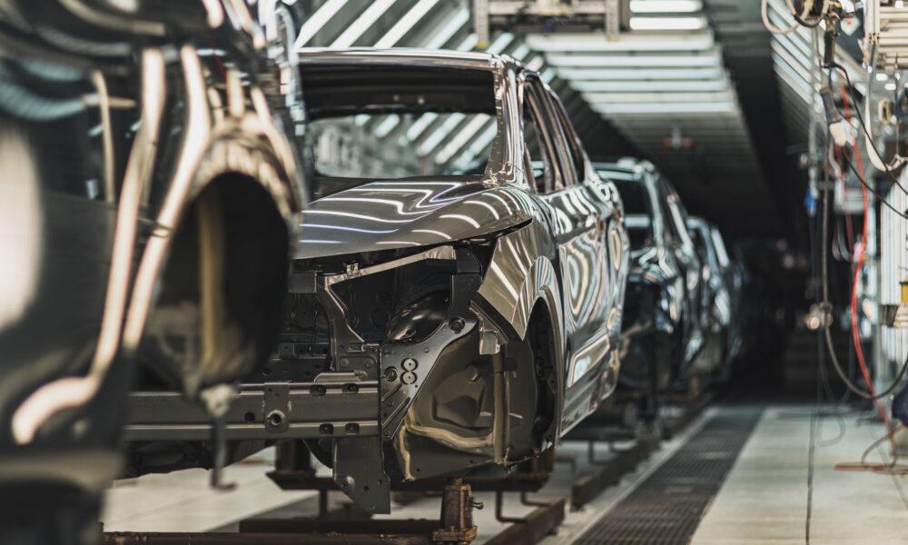 Production line of automobile plant, paint shop, conveyor. Finished product