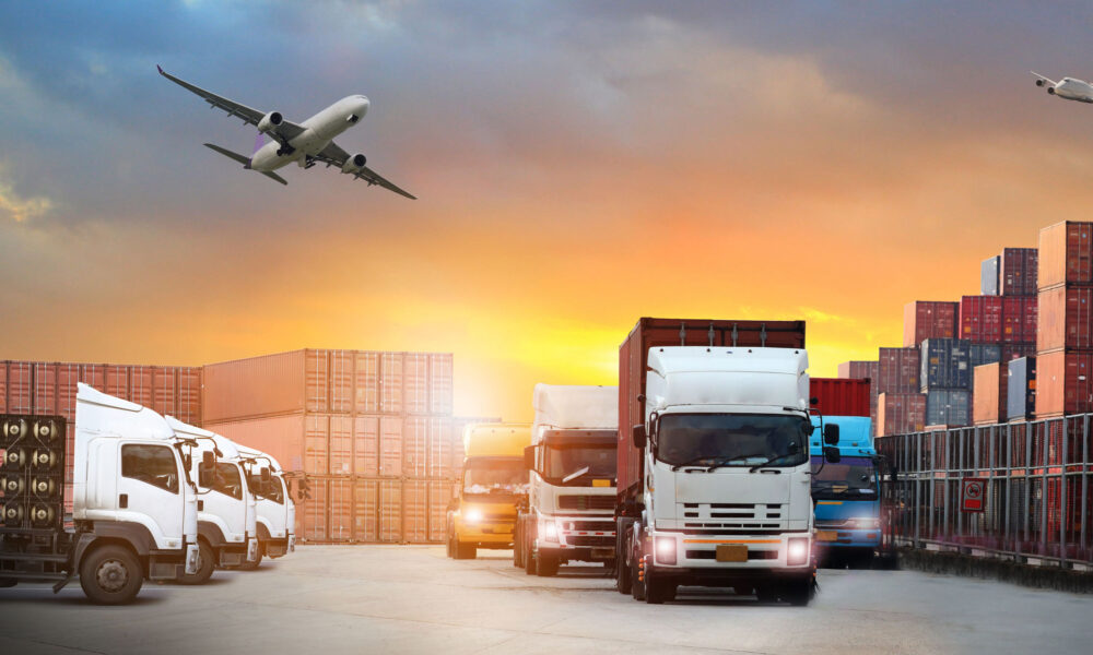 image of the logistics, there are container truck,  airplane for import export industry